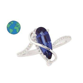 Chatham Pear Blue Sapphire Ring