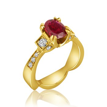 14-Karat Yellow Gold and Ruby Ring