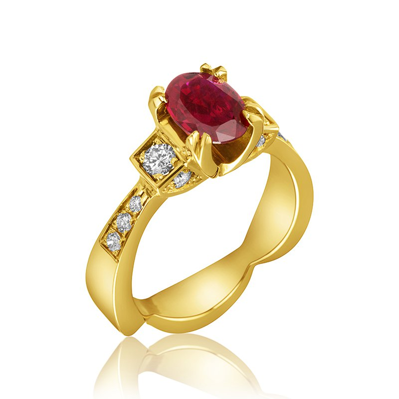 Mikhail 14-Karat Yellow Gold and Ruby Ring
