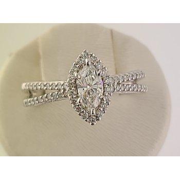 Bradley Gough Diamonds 14kt wg marquise halo split