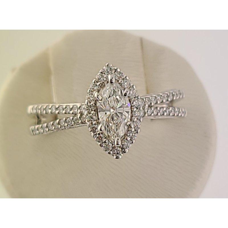 Spring Bridal Sale Bradley Gough Diamonds 14kt wg marquise halo split