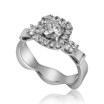 14-Karat White Gold Halo Engagement Ring