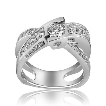 14-Karat White Gold Crisscross Diamond Ring