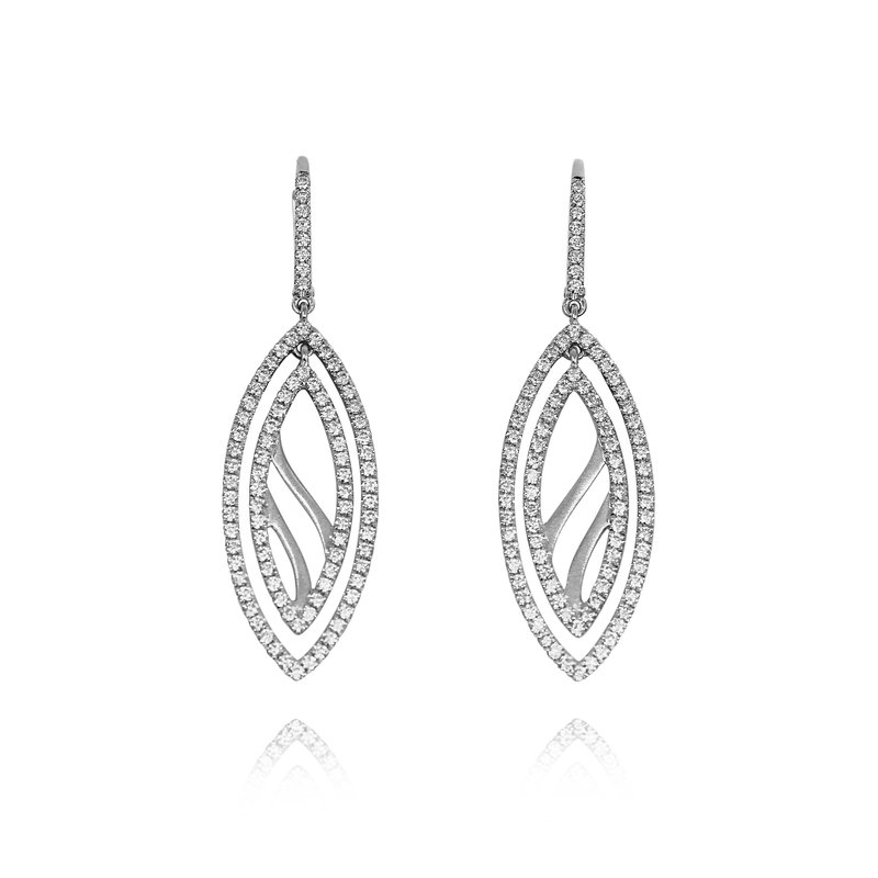 Yael Designs Double Marquise Cute Out Diamond Dangle Earrings
