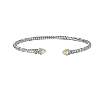Rope twist cuff with blue topaz briolette ends and 18k YG
