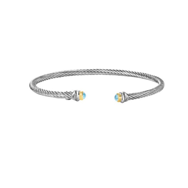 As Seen on Social Media Rope twist cuff with blue topaz briolette ends and 18k YG