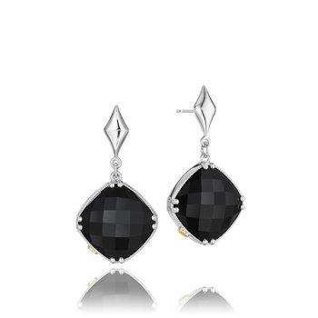 Black Onyx Dangle Drop post earrings