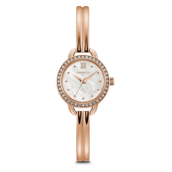 Caravelle Rose tinted Bangle watch