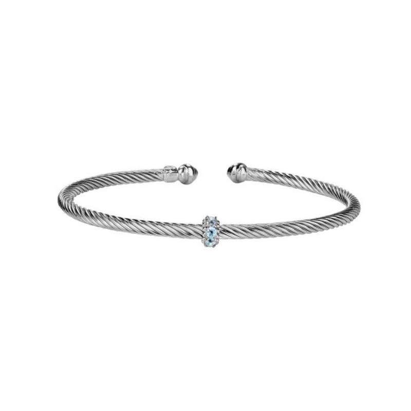 As Seen on Social Media Rope twist cuff with blue topaz rondel