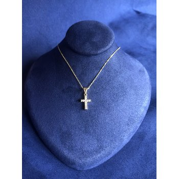 14k YG Diamond Cross necklace