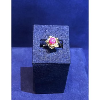 Red Star Sapphire Flower Ring