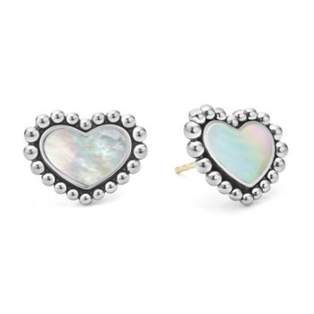 White Mother-Of-Pearl Heart Studs
