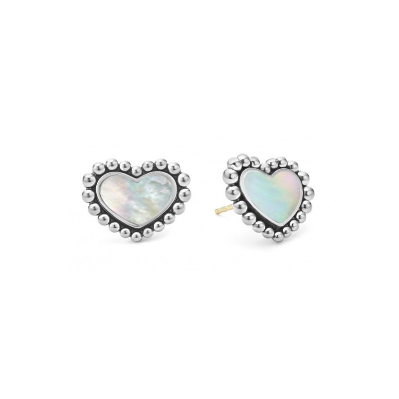 LAGOS White Mother-Of-Pearl Heart Studs