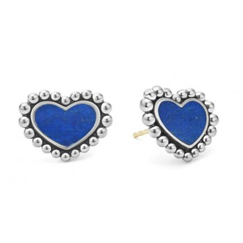 Lapis Heart Stud Earrings