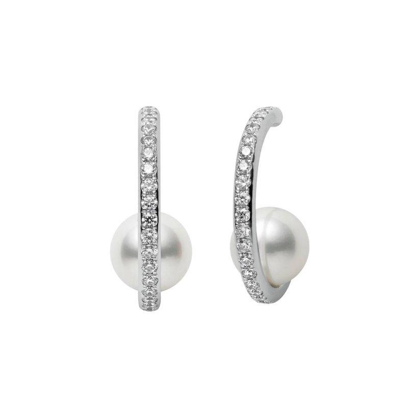 Mikimoto Akoya Cultured Pearl & Diamond Earrings