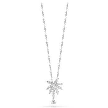 18KT Small Palm Tree Pendant with Diamonds
