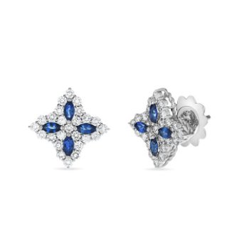 18K Diamond and Sapphire Medium Flower Stud Earrings