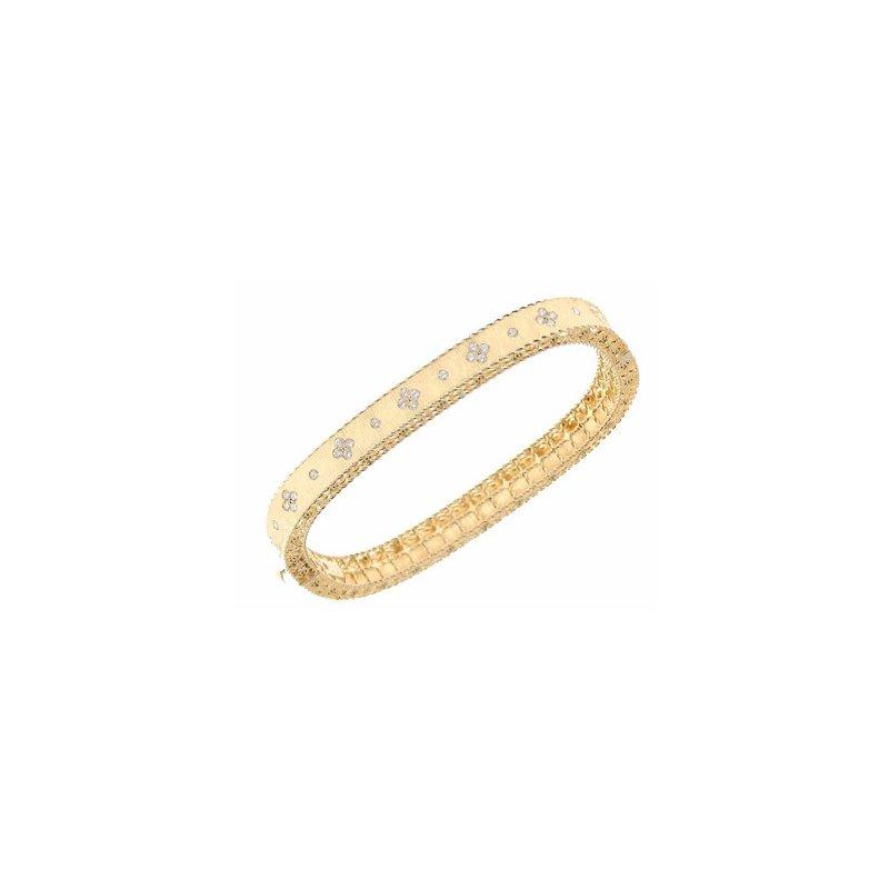 Roberto Coin 18KT Gold Satin Finish Slim Bangle with Fleur De Lis Diamonds