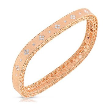 18KT Gold Satin Finish Slim Bangle with Fleur De Lis Diamonds