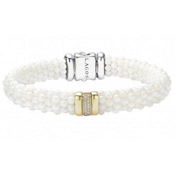 White Caviar Diamond Beaded Bracelet