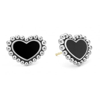 Black Onyx Heart Stud Earrings