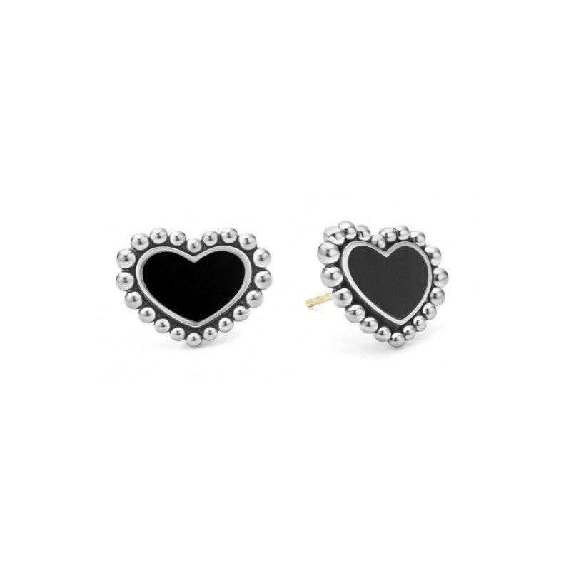 LAGOS Black Onyx Heart Stud Earrings