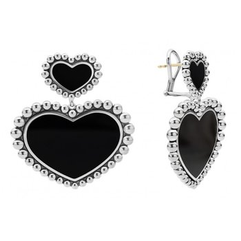 Black Onyx Double Heart Earrings
