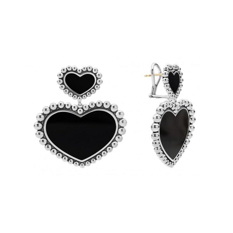 LAGOS Black Onyx Double Heart Earrings