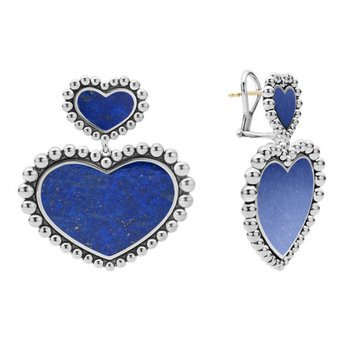 Lapis Double Heart Earrings
