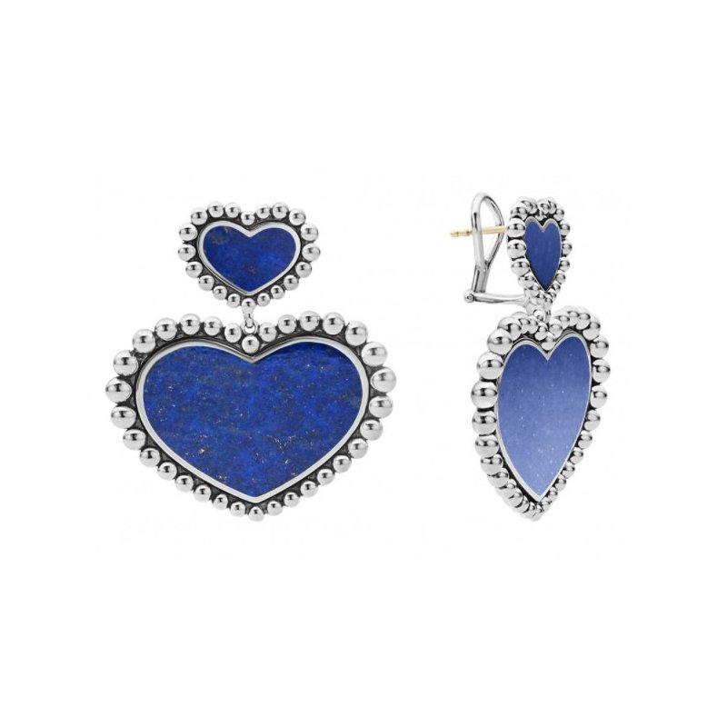 LAGOS Lapis Double Heart Earrings