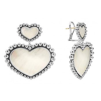 White Mother-Of-Pearl Double Heart Earrings