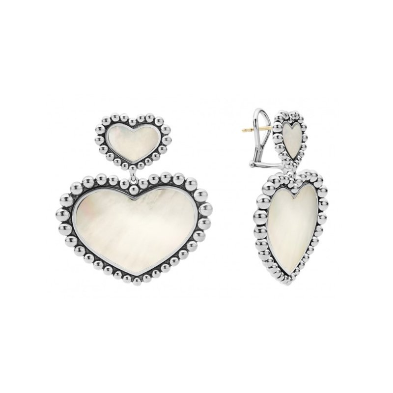 LAGOS White Mother-Of-Pearl Double Heart Earrings