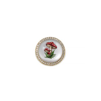 HandPainted Red Mushroom Signet Ring Size 7