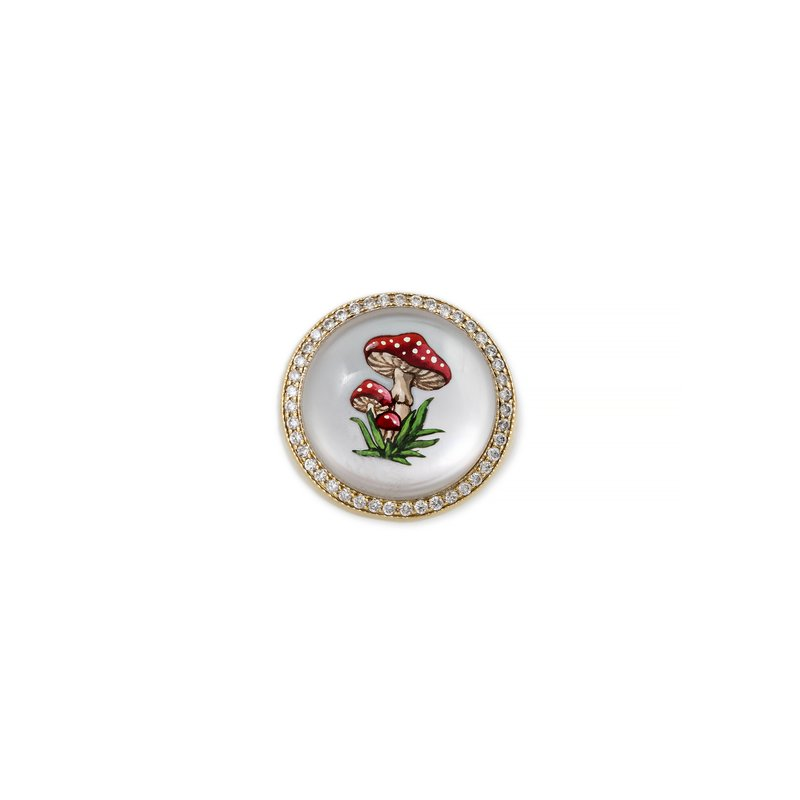 Jacquie Aiche HandPainted Red Mushroom Signet Ring Size 7