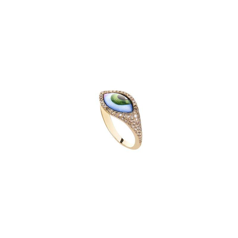 Lito Karakostanoglou Green Eye Pinky Ring Size 3.5