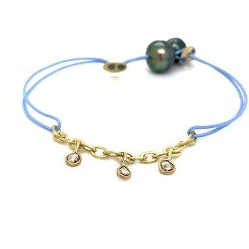 Blue Cord Charm  Bracelet