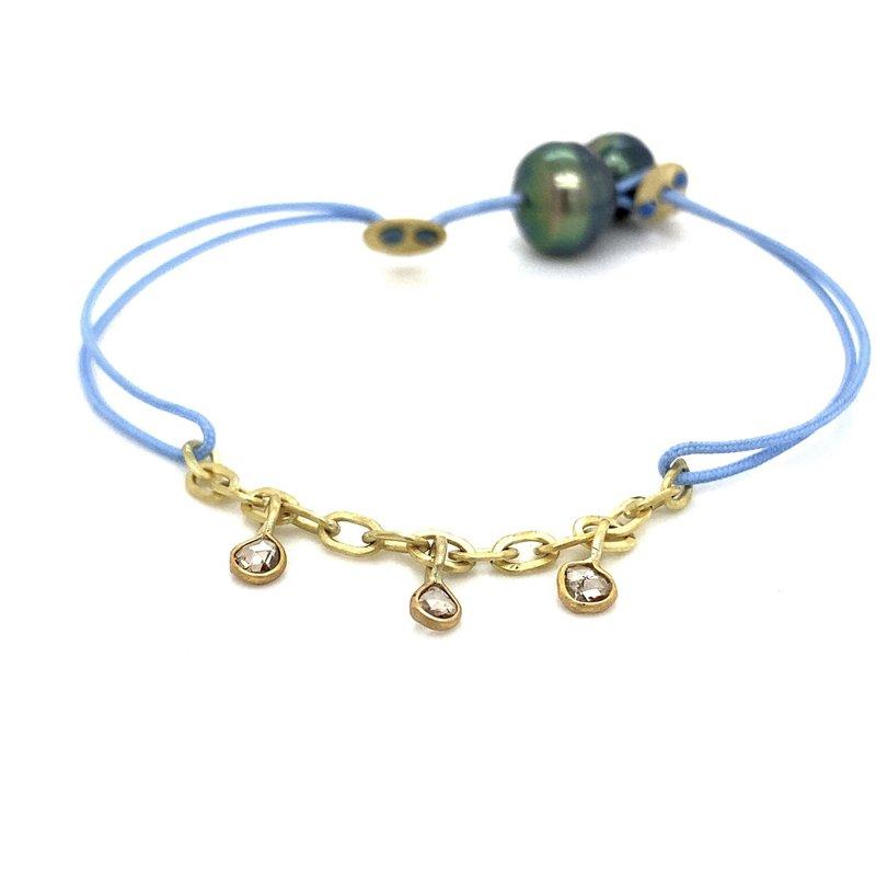 Lene Vibe Blue Cord Charm  Bracelet