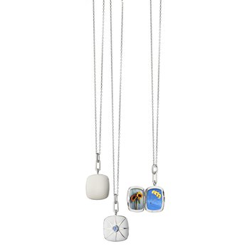 """Cushion Locket Necklace Length 16"""" with a loop at 17""""& 18"""""""