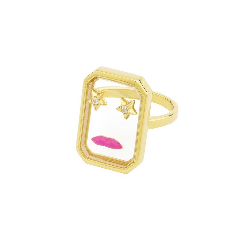 Eshvi Star Pink Lips Ring