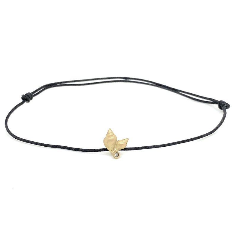 Lene Vibe Small Shell Black Cord Bracelet