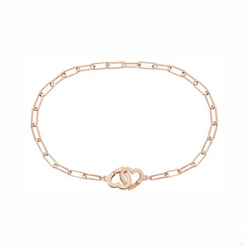 "Double Heart Chain Bracelet Length 6"""