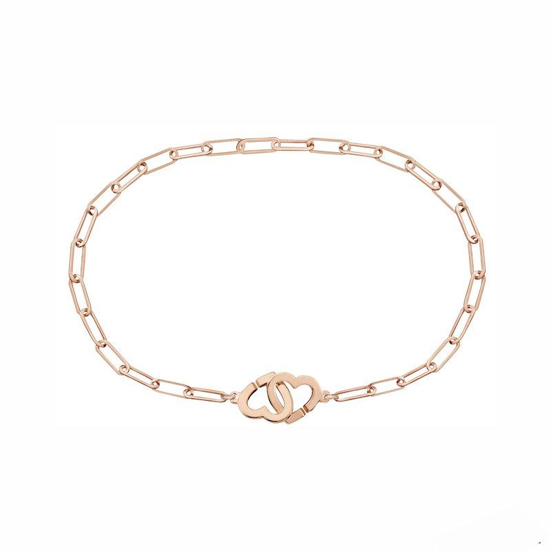 "Dinh Van Double Heart Chain Bracelet Length 6"""