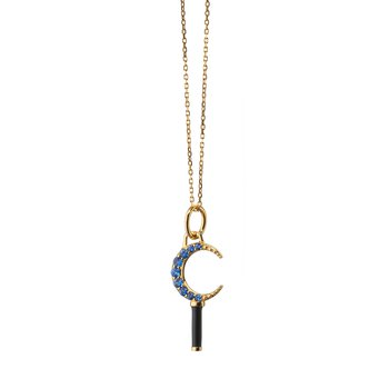 """Mini Crescent Moon On A Diamond Cut Disappearing Chain Necklace 17"""" Length"""