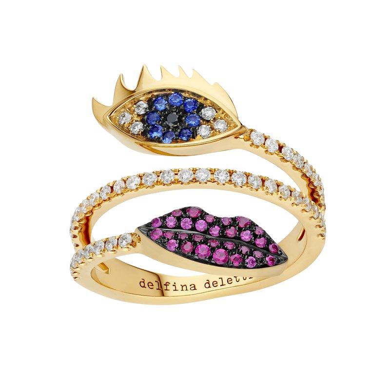 Delfina Delettrez Marry Me Eye & Lips Ring Size 7