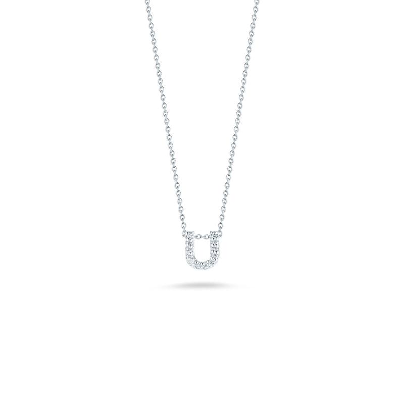 """Roberto Coin Love Letter U Necklace Length 16"""" adjustable to 18"""""""