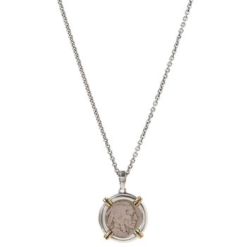 """Buffalo Nickel Coin Necklace 24"""" Length"""