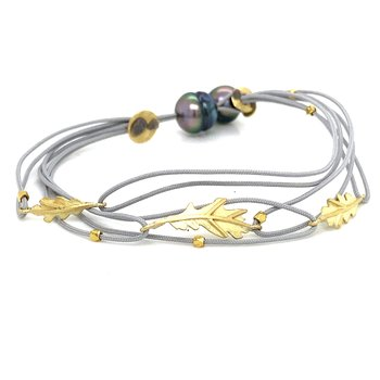 Double Grey Cord Leaf Bracelet