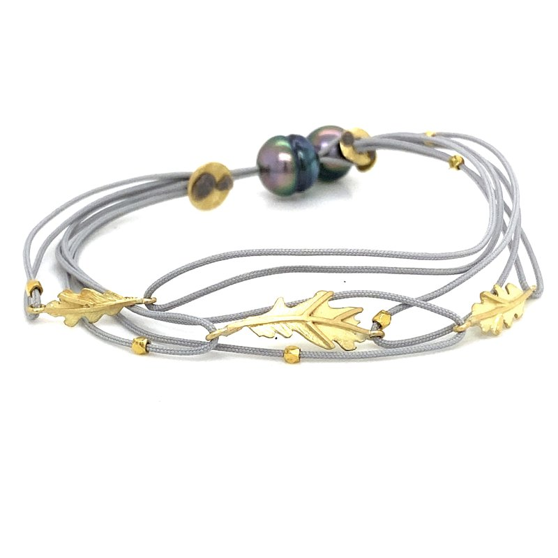 Lene Vibe Double Grey Cord Leaf Bracelet