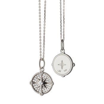 """Compass Necklace Length 16"""" with loop at 17"""" & 18"""""""