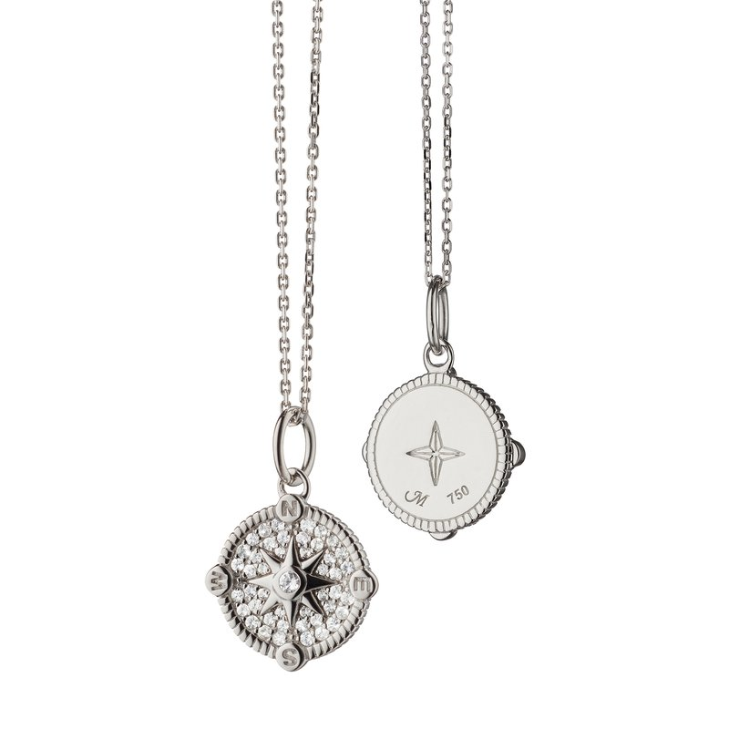 """Monica Rich Kosann Compass Necklace Length 16"""" with loop at 17"""" & 18"""""""